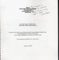Image of Der Tod Vereint--Death Unites:  The death of John Martin Waas, Sr. - Book