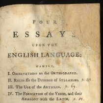 Image of Four Essays upon the English Language - Book