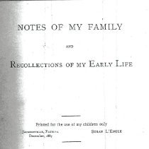 Image of Notes of my family and recollections of my early life - Book