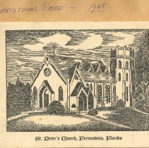 Image of St Peter's Church 1945 Christmas Card - Print, Photographic