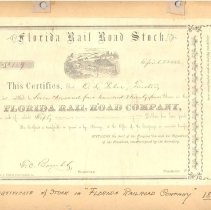 Image of Florida Railroad stock certificate (#159) Issued April 22, 1866 - Certificate, Stock