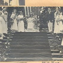 Image of May Party Queen at court 1912 (?) - Print, Photographic