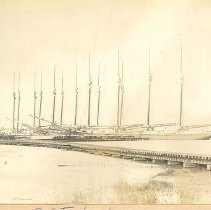 Image of Fernandina waterfront schooners by the railroad - Print, Photographic