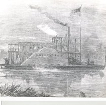 """Image of Photo of a print of the """" Darlington Paddle Wheeler """""""
