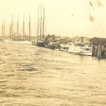 Image of Fernandina waterfront lined with vessels. - Print, Photographic