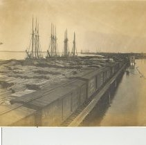"Image of John Hills tie dock and the barkentine "" Bruce Hawkins "" 1907. - Print, Photographic"
