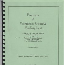 Image of Pioneers of Wiregrass Georgia Finding List    - Pamphlet