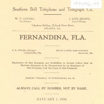Image of Southern Bell Telephone and Telegraph Co., Fernandina, FL., Jan. 1, 1908 - Directory, Telephone