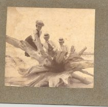 Image of Carrie Davis and friends on the beach - Print, Photographic
