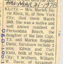 Image of Obituary for Mrs Marion Davis Klotz - Newspaper