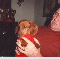 Image of George T Davis  and a dog - Print, Photographic