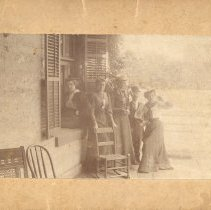 Image of Group photo at C W Lewis House - Print, Photographic