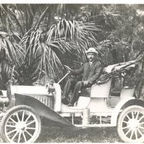 Image of Dr W T Waas in his 1903 Buick. - Print, Photographic