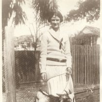 Image of Nancy Davis with goat, 1925 (?) - Print, Photographic