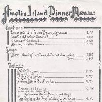 Image of Amelia Island Dinner Menu - Menu