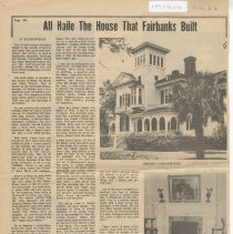Image of All Haile the house that Fairbanks built  - Newspaper