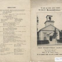 Image of Bulletin for First Presbyterian Church - Pamphlet