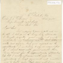 Image of Letter and envelope from J. H. Carlin to Capt. T. P. O'Hagan - Letter