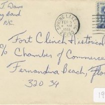 Image of Envelope to Fort Clinch Historical Society