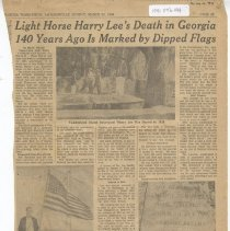 Image of Light Horse Harry Lee's Death in Georgia 140 Years Ago Is Marked by Dipped Flags - Newspaper