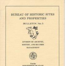 Image of Bureau of Historic Sites and Properties Bulletin No. 5 - Book