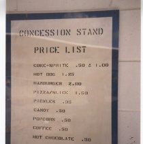 Image of Concession stand price list
