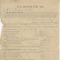 Image of Tax Notice for 1890, C.A. Snowball - Return, Tax