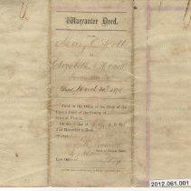 Image of Warrantee Deed between Mary E. Scott and Warren T. Scott, her husband, and Elizabeth A. Howell.   - Deed