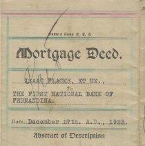 Image of Mortgage Deed:  Isaac Flacks. 1923   - Deed