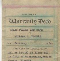 Image of Warranty deed:  Flacks to Lohman. 1924 - Deed