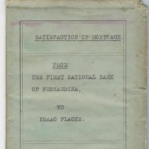 Image of Satisfaction of mortgage from The First National Bank of Fernandina to Isaac Flacks. 1920 - Mortgage