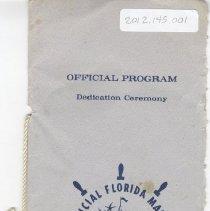 Image of Program for Dedicaiton Ceremony of Florida Marine Welcome Station - Program