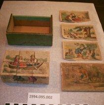 Image of Child's Box of Puzzle Blocks. - Toy