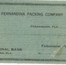 Image of Fernandina Packing Co Check - Check, Bank