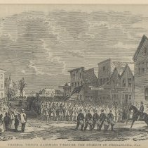 Image of Federal Troops marching through the Streets of Fernandina, Fla. - Lithograph