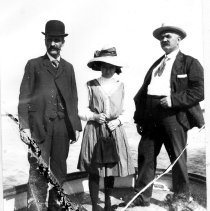 Image of Marian Klotz with harbor pilots Bell and Johnson - Print, Photographic