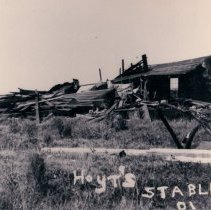Image of Hoyt's Storm damaged stable - Print, Photographic
