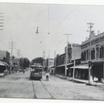 Image of Centre Street and Trolley - Print, Photographic