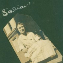 Image of Lillian on a porch. - Print, Photographic