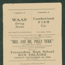 "Image of Playbill for ""Mrs. and Mr. Polly Tickk"" - Pamphlet"