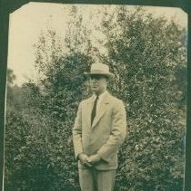 Image of Suit wearing man in the woods - Print, Photographic