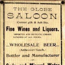 Image of The Globe Saloon - Advertisement