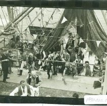 Image of Pirate invasion reenactment during Shrimp Festival - Print, Photographic