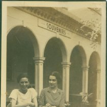 Image of Two women at a street cafe - Print, Photographic