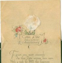 Image of Sentiment page of card from Millikins to Holcombes.