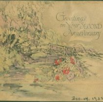 Image of Cover of second wedding anniversary card for Holcombes.