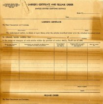 Image of Form for Carrier's Certificate and Release Order    - Customhouse