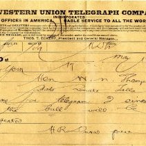 Image of Letter to W. N. Thompson from D. E. Maxwell - Telegram