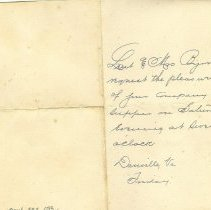 Image of A supper invitation from Liuet and Ms. Byron