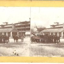 Image of Stereoview of people gathered in open area on Centre Street  - Stereoview